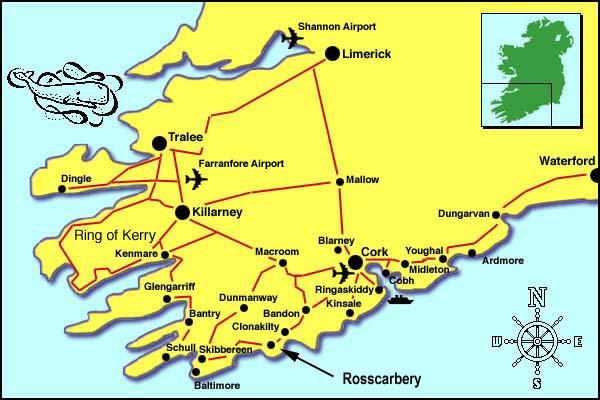 ireland map west cork