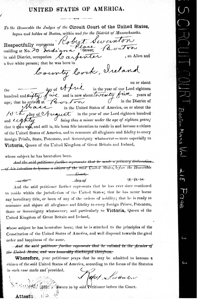 Massachusetts naturalization citizenship records naturalization record of michael cleary of cambridge in boston massachusetts 1878 gives his place and date of birth plus date of arrival and port of aiddatafo Image collections