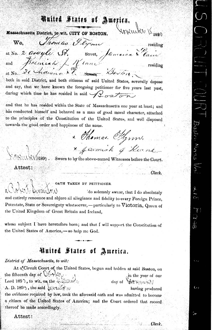 Massachusetts naturalization citizenship records cleary of cambridge in boston massachusetts 1878 gives his place and date of birth plus date of arrival and port of arrival in usa aiddatafo Image collections