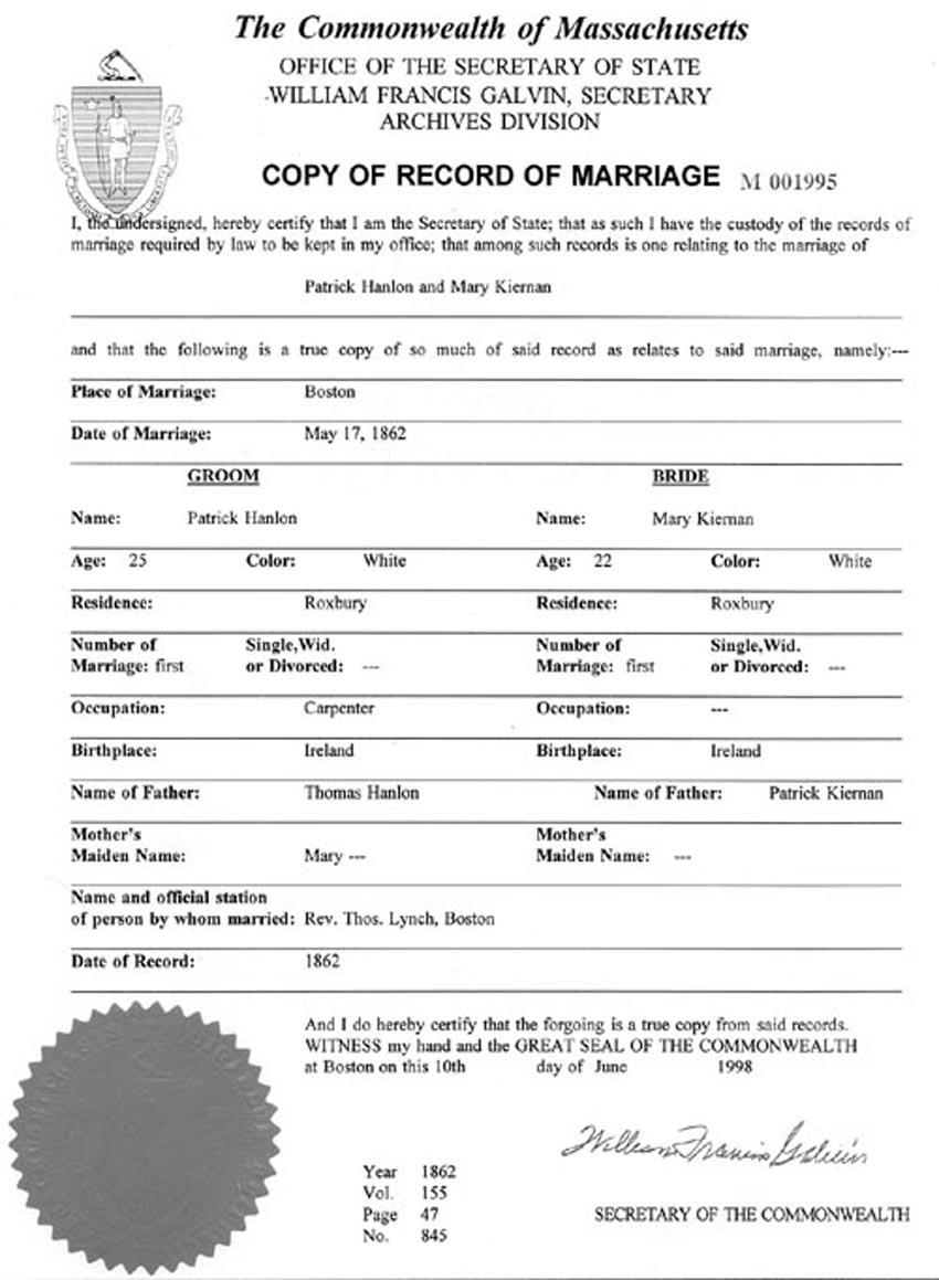 Marriage patrick hanlon and mary kiernang civil marriage record 1betcityfo Images